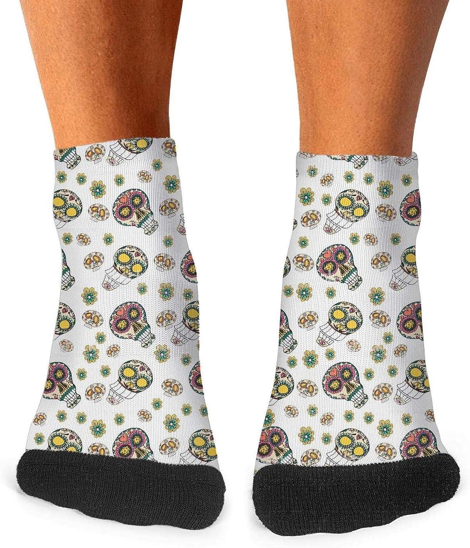 Floowyerion Mens pattern Day of the Dead skull Novelty Sports Socks Crazy Funny Crew Tube Socks