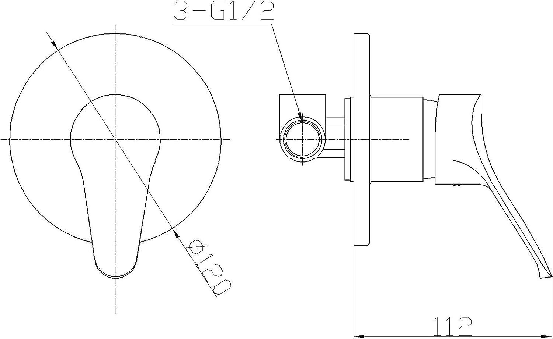 Ambrosiana sei14030000/Robinet mitigeur douche s/érie complet de corps encastr/é chrome