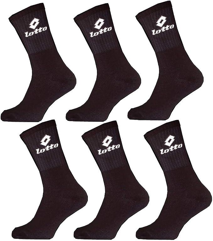 Lotto - Calcetines deportivos para hombre, pack de 6, color: Negro: Amazon.es: Ropa y accesorios
