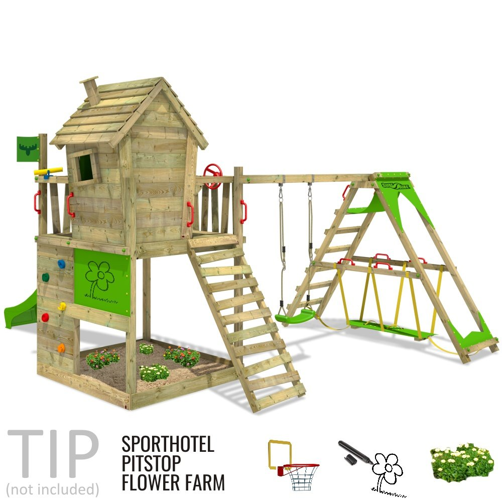 FATMOOSE Spielturm HappyHome Hot XXL Stelzenhaus Baumhaus ...