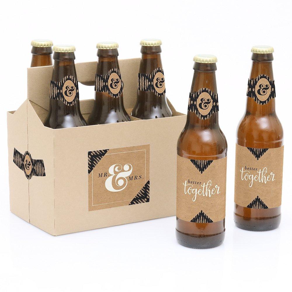 Better Together - 6 Wedding Beer Bottle Labels and 1 Carrier Big Dot of Happiness LLC BD9072btl