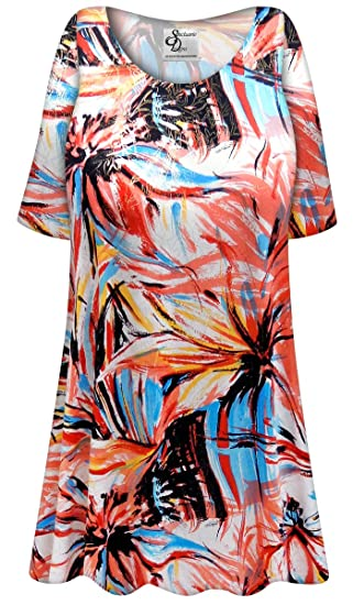 6b7793b9164 Metallic Floral Abstract Slinky Print Plus Size Extra Long A-Line Top LG