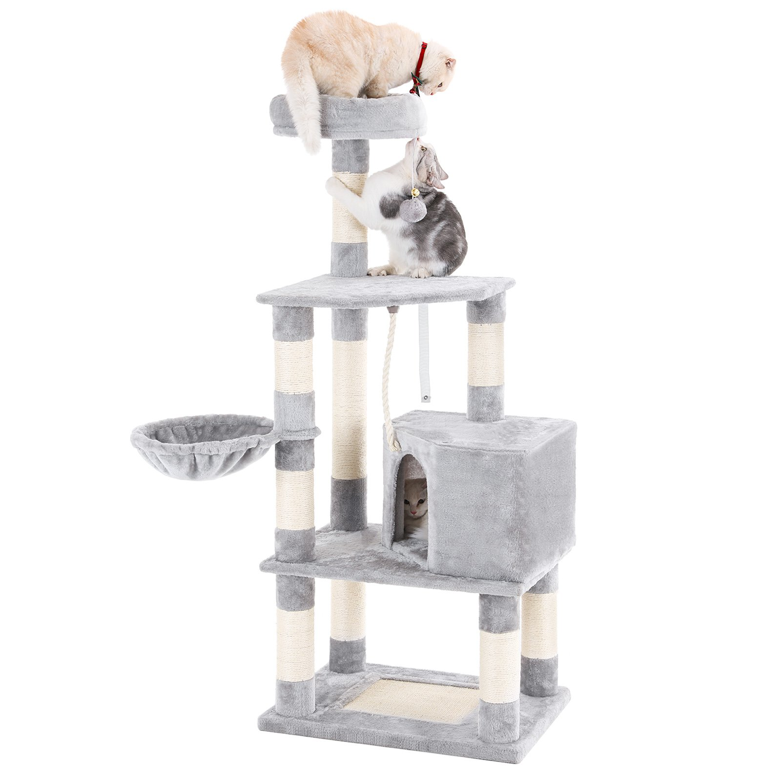 """SONGMICS 58"""" Multi-Level Cat Tree with Sisal-Covered Scratcher, Scratching Posts, Plush Perches, Basket and Condo,Cat Tower Furniture - for Kittens, Cats and Pets UPCT60H"""