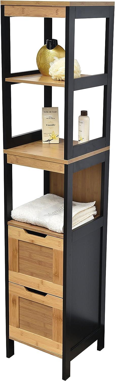 TENDANCE Mueble Columna Sala de baño - 3 estanterías y 2 cajones - Estilo Vintage - en Bambu - Color Negro y Madera