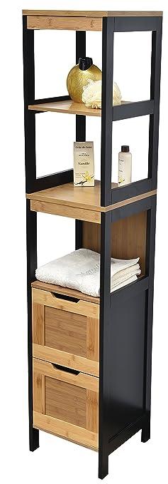 Meuble Colonne de salle de bain 3 étag¨res et 2 tiroirs Style