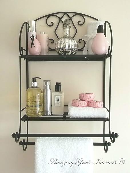 Shabby Chic Metal Wall Shelf Towel Rail Rack Storage Cabinet Bathroom  Kitchen