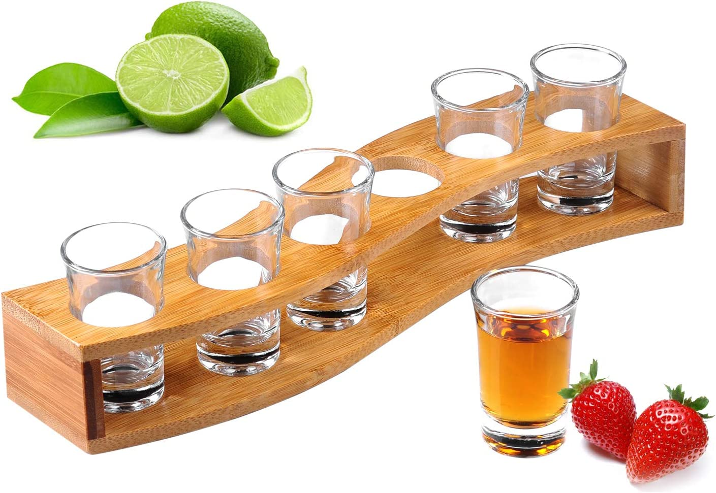 Shot Glasses, Heavy Base Shot Glass Set with Tray - Professional Wooden Holder for Tequila - 6 Shot Glass Serving Set/Shot Glass Holder/Shot Glass Display/Tequila Shot Set