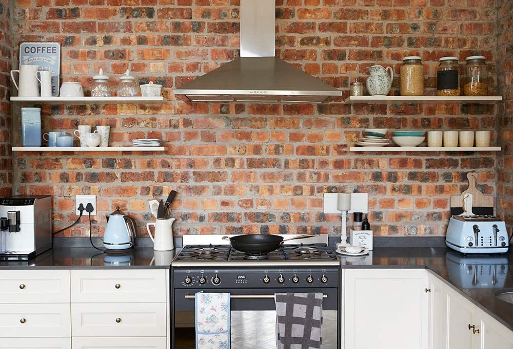 HUAYI Brick Wall Kitchen Backdrop Kitchen Photography Banner Poster Furniture Decorations Baby Kids Cooking Portrait Photo Studio Backgrounds Props Home Photo Favors W-4272