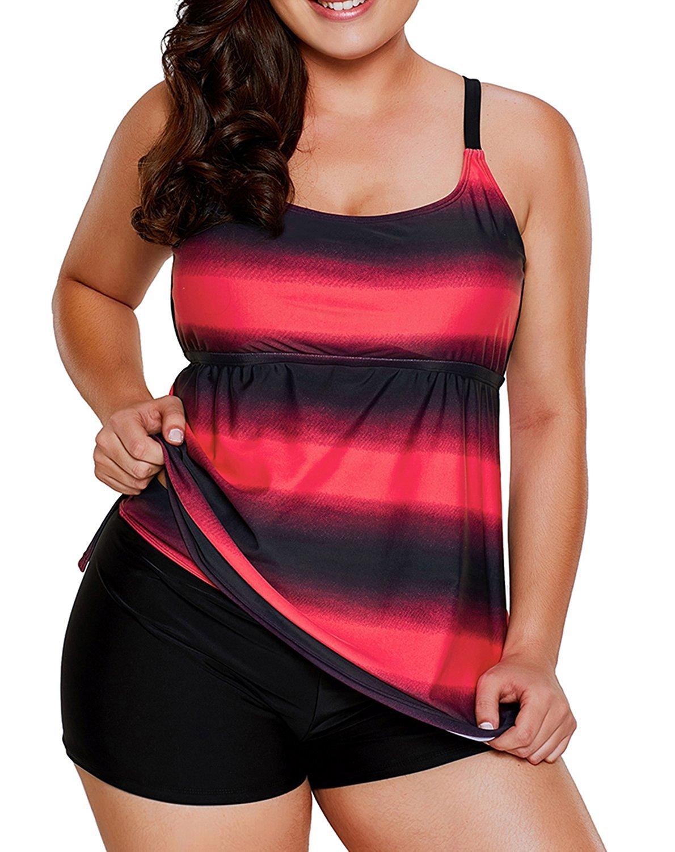 Gludear Women's Color Block Striped Tankini Set with Boyshort Swimsuit L-XXXXL