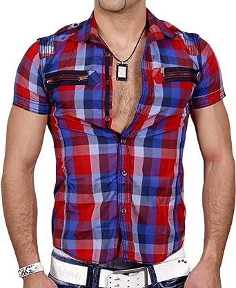 JOIN Hombre Manga Corta Polo Camisa de Cuadros Camiseta de Color Rojo – Negro – Turquesa KD de 230: Amazon.es: Ropa y accesorios