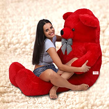 OSJS 3 Feet Huggable Teddy Bear with Neck Bow (Red)