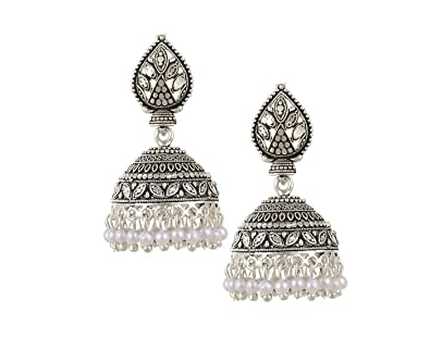0b75a753f7b2b TAZS Party Wear Pearl Drop Silver Oxidized Jhumka Earrings for Women and  Girls