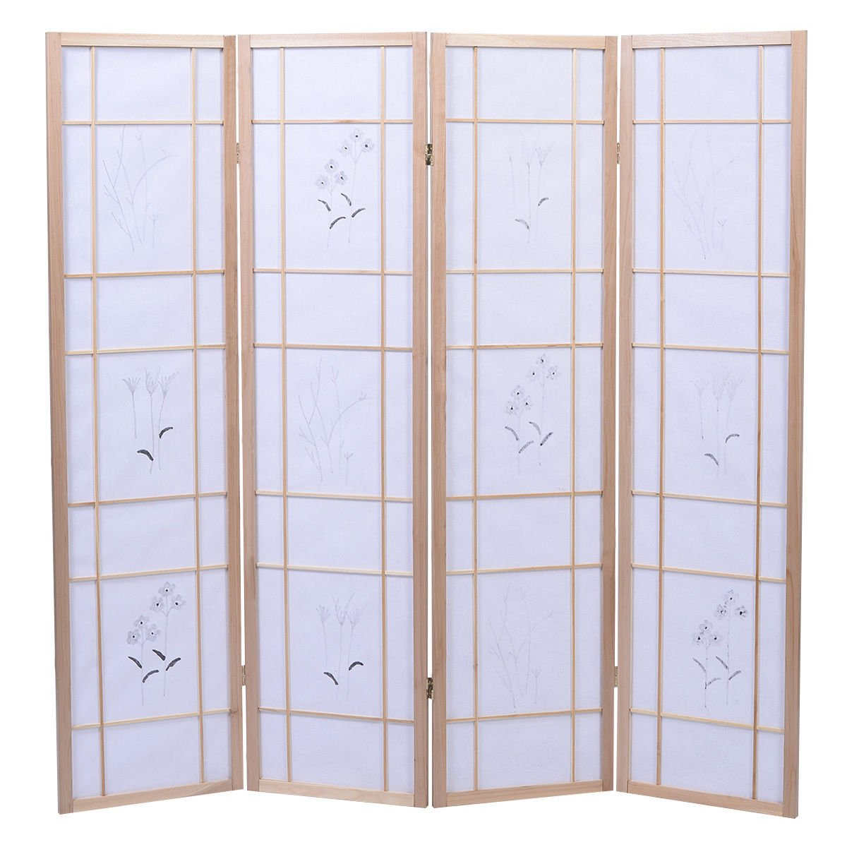 Eight24hours 4 Panel Flowered Room Divider Screen Style Shoji Solid Wood Natrual New