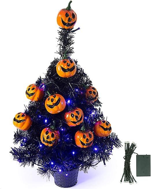 Sunnyglade - Árbol de Navidad artificial con 35 luces LED para mesa de escritorio, serie clásica, decoración navideña: Amazon.es: Jardín