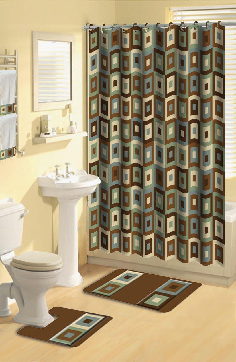 Home Dynamix Boutique Deluxe Shower Curtain and Bath Rug Set: BOU 11 Blocks Brown Blue: 17 Piece Bath Set
