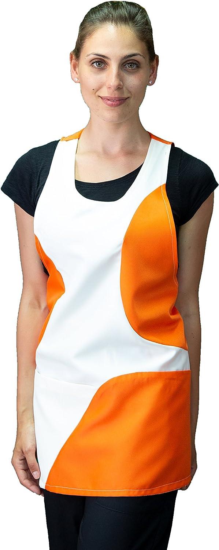 tessile astorino Ricamo Gratuito Colore Panna e Arancione Imprese di Pulizia Made in Italy Divisa per Parrucchiera ed Estetista Bar Grembiule Donna da Lavoro Ristoranti
