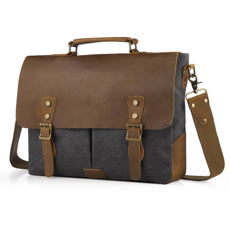 SMRITI Vintage 16 Zoll Leder Umhängetasche Messenger bag für Notebook Dicker Ordner - Schwarz Brandworl SMRSH1504L