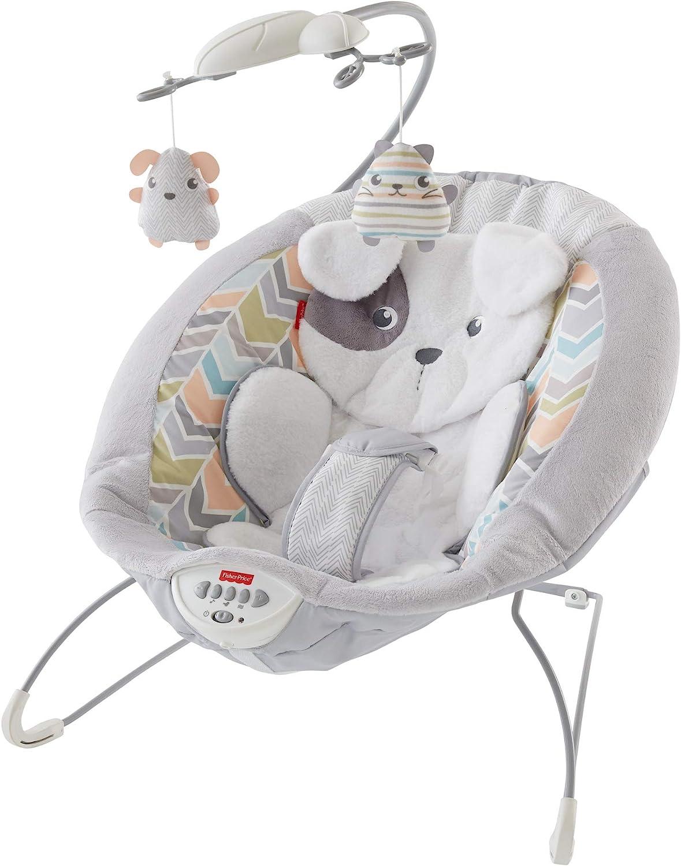 Fisher-Price GWD50 Deluxe Elektrische Baby Wippe im Hundebaby Design mit beruhigenden Schwingungen und Musik bis 9kg -