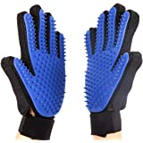 LIANYI Pet Grooming Glove Gentle De-Shedding Brush for Dogs & Cats with Long & Short Fur Hair Removal Mitt Comfortable Massage Tool Dark Blue 1 Pair Your Pet Will Love It