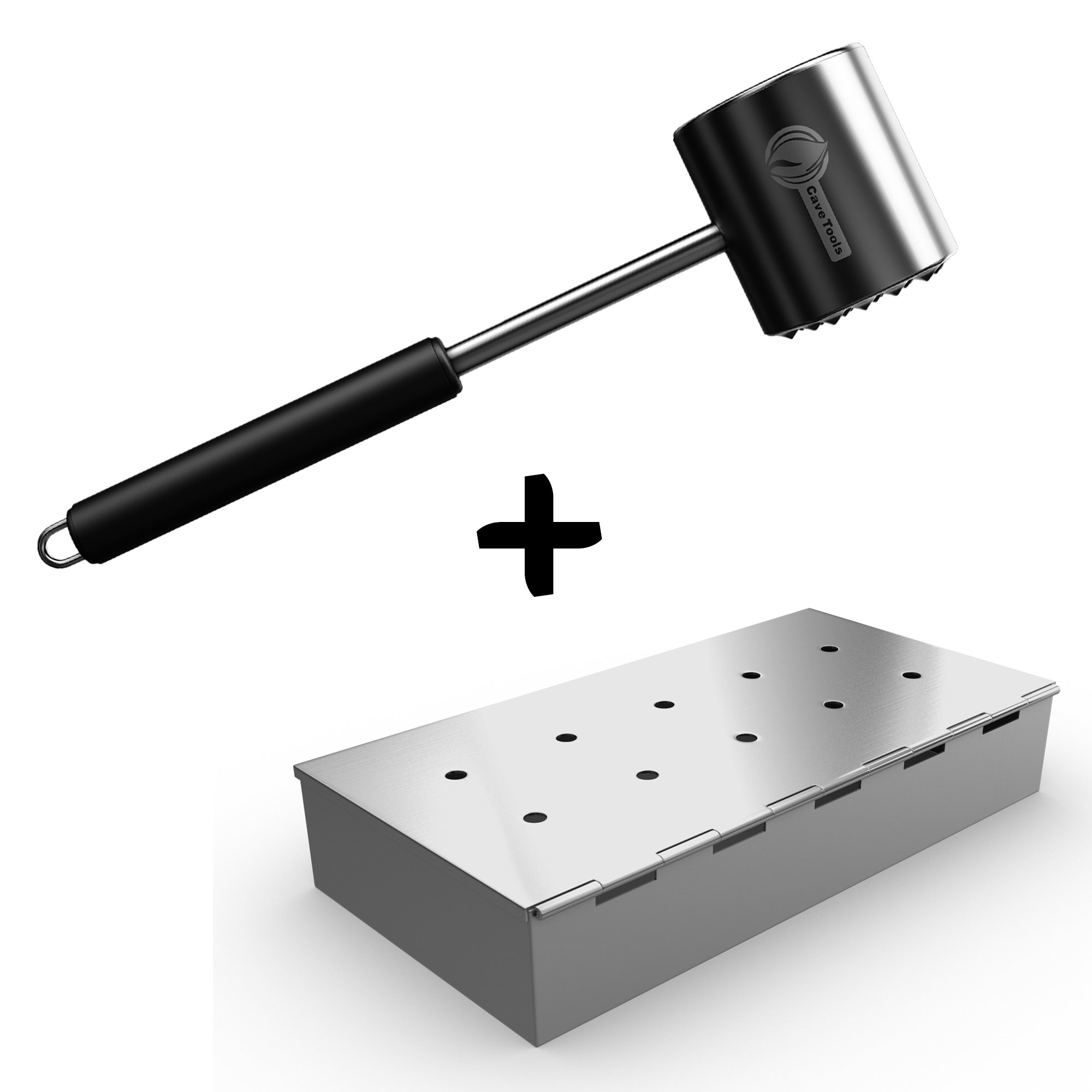 Tenderizer Mallet + Smoker Box for BBQ Grill Wood Chips - 25% Thicker Stainless Steel Won't Warp - Charcoal & Gas Barbecue Meat Smoking Hinged Lid - Grilling Accessories Gift for Dad