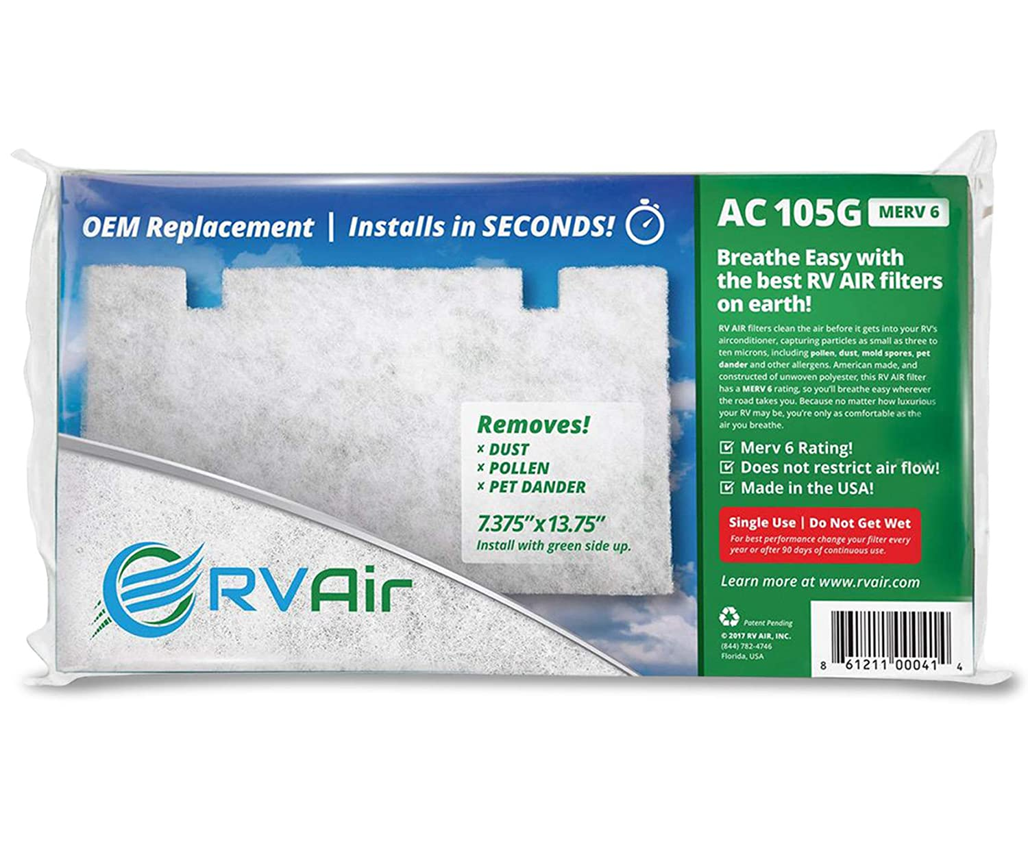 RV Air AC 105G | Replacement RV AC Filter for Dometic  3313107 103/3105012 003 | Replace Standard RV Air Conditioner Filters for  Better Airflow and