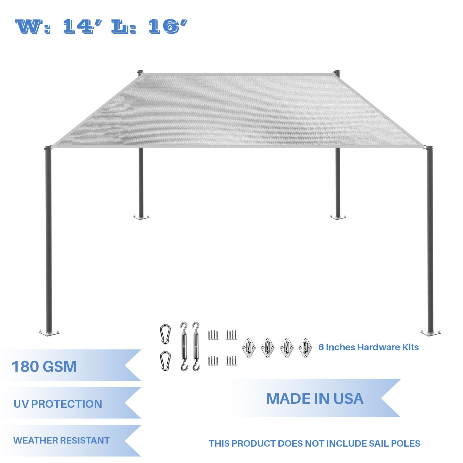 E K Sunrise 14 x 16 Light Gray Rectangle Sun Shade Sail with Stainless Steel Hardware Kit Outdoor Shade Cloth UV Block Fabric,Straight Edge-Customized