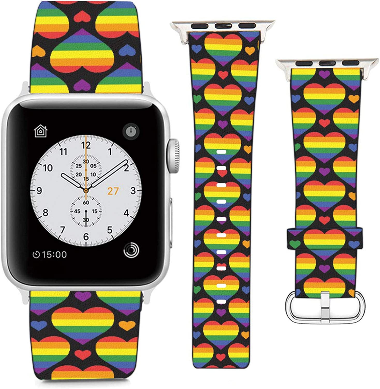 Compatible with Apple Watch Wristband 42mm 44mm, (LGBT Pride Pattern with Rainbow Hearts) PU Leather Band Replacement Strap for iWatch Series 5 4 3 2 1