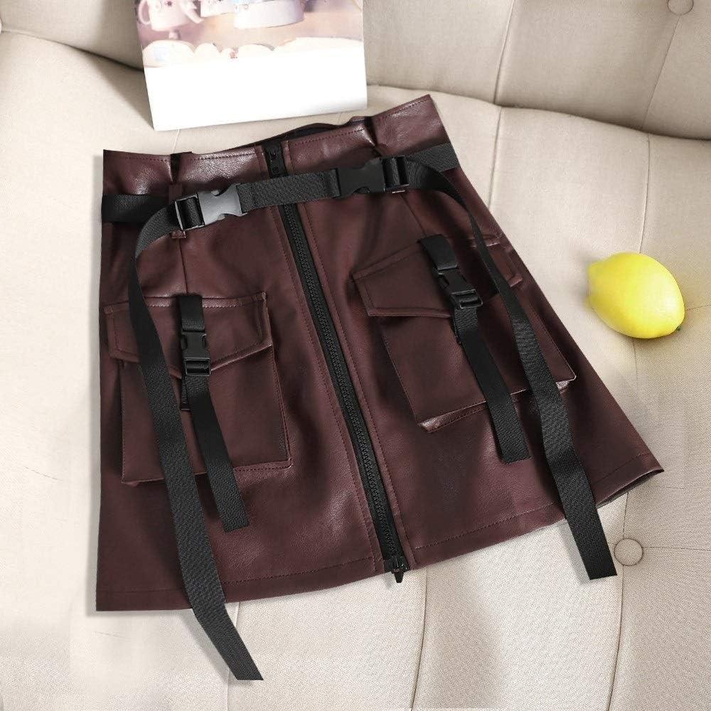 Faldas Casuales de Las Mujeres 2 Piezas de Falda de la Flor de la Falda Elegante Cuero de la PU de la Cremallera de Herramientas Una Palabra Falda con cinturón, Tamaño: L (Negro).