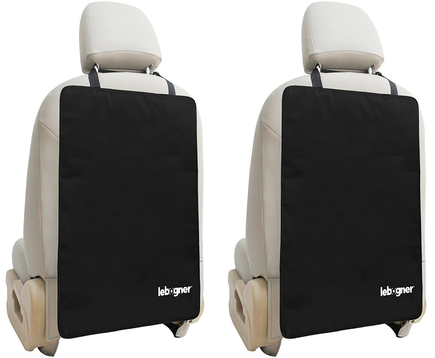 Luxury Car Seat Back Kick Mat Protectors By Lebogner - 2 Pack Large Auto Kick Mats Seat Cover For The Back Of Your Front Seats, Backseat Protectors, Car Seat Protector, Black - Satisfaction Is 100% Guaranteed Or Your Money Back. LOR-A-1002