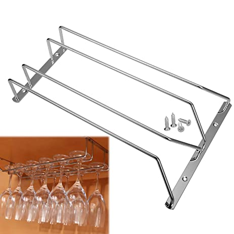 Asiv Under Cabinet Wall Stainless Steel Wine Glass Hanging Rack With Mounting  Screws 2 Rows