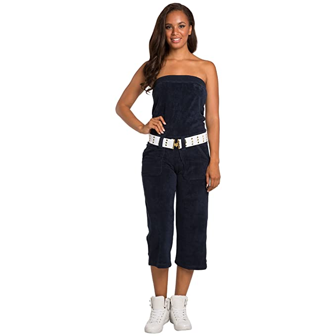 1bf045b77c Amazon.com  Sweet Vibes Junior Womens Jumpsuit Stretch Terry Cloth Tube  Fashion Belt  Clothing