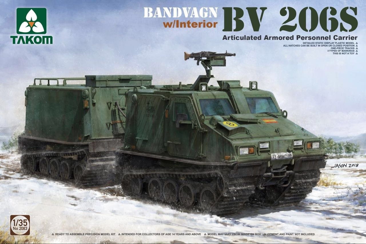Takom 2083 Bandvagn BV 206S Articulated Armored Personnel Carrier with Interior 1:35 Scale Model Kit
