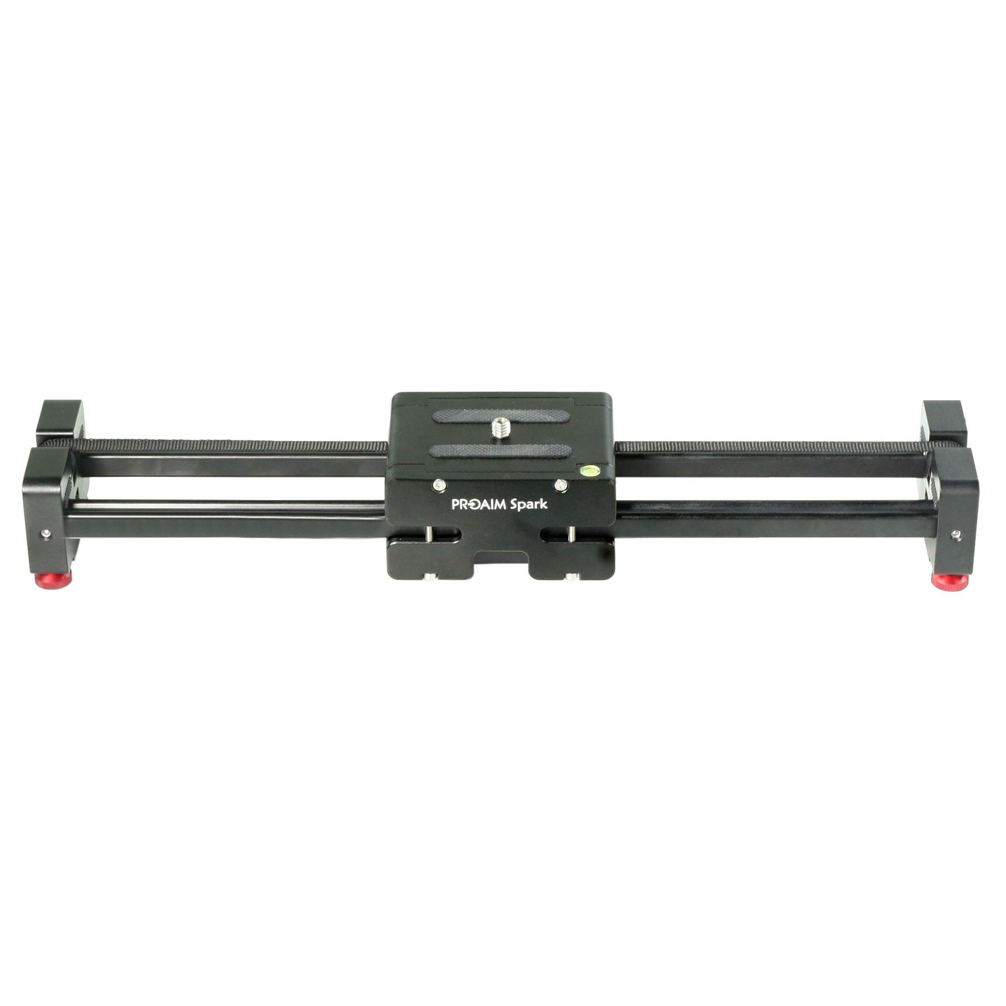 PROAIM Spark 17'' Video DSLR Camera Slider Extendable Double Travel Distance on Tripod Track Dolly Rail Slider | BEST Travel Slider (P-SPK-17)