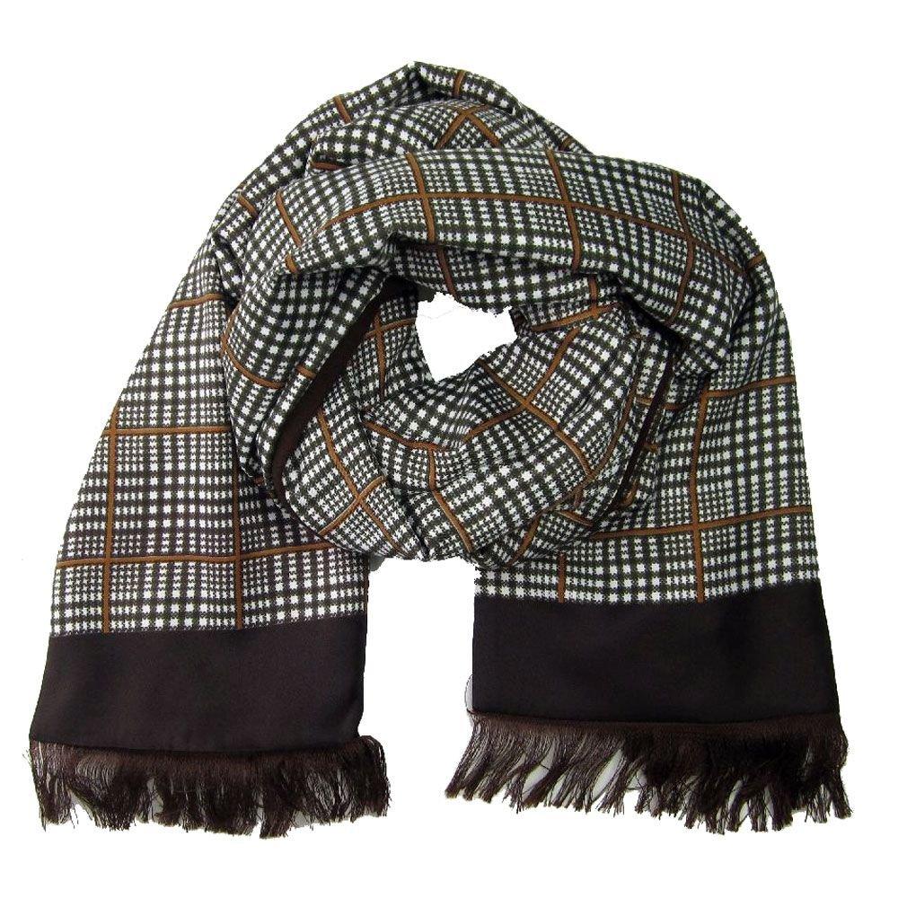 Brown White Silk /& Wool Scarf