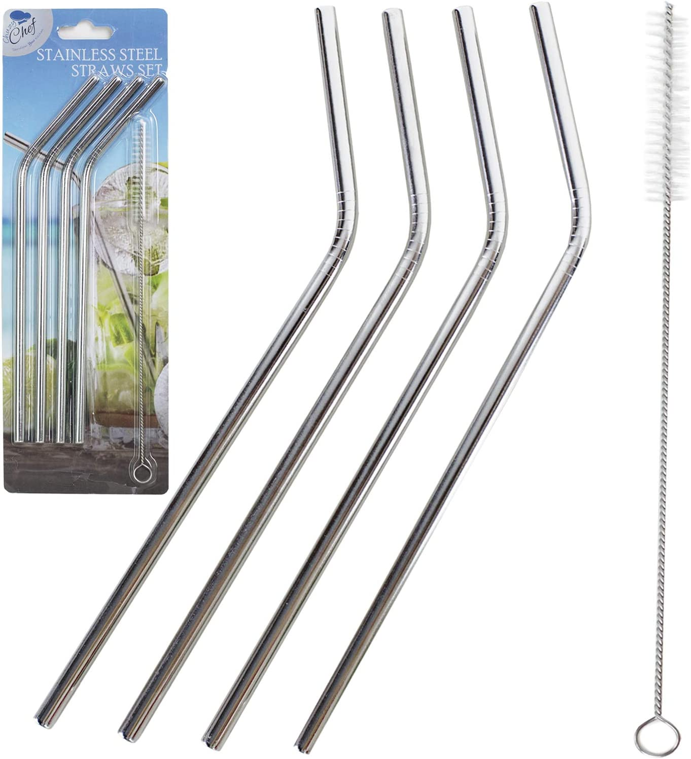 Stainless Steel Straws Set of 4 Free Cleaning Brush Included Strongest Metal Reusable Eco Friendly Drinking Straws by Chuzy Chef/®