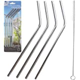 Stainless Steal Metal Reusable Straws - Set of 4 Stainless Steal Tumbler Straws Drinking Reusable Straw Eco Friendly Cold Beverage Steel Straws For Tumbler Rumblers Cups Free Cleaning Brush Included