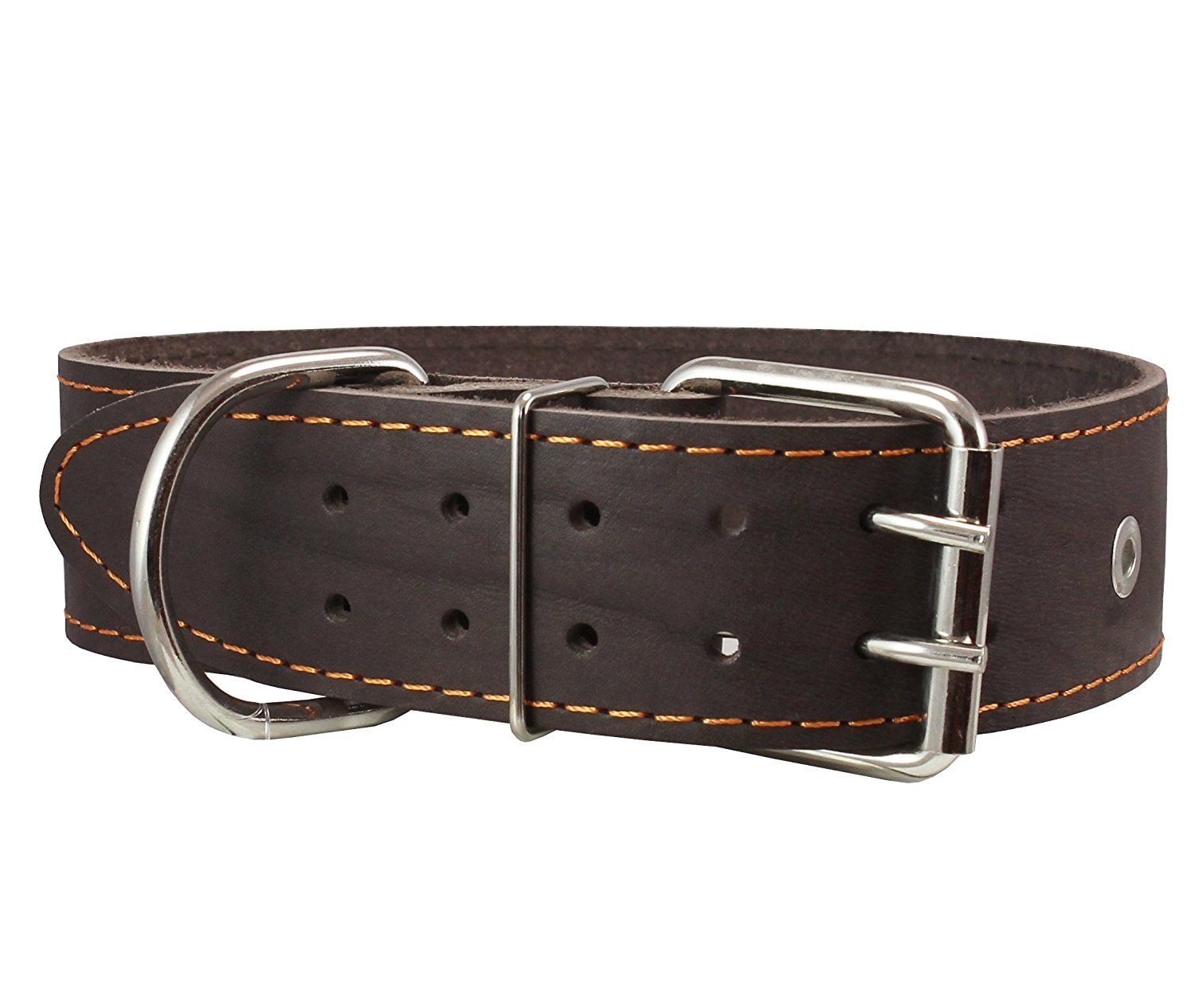 High Quality Genuine Leather Studded Dog Collar, Brown, 1.75  Wide. Fits 18.5 -22  Neck.For Large Breeds Boxer, Pit Bull.