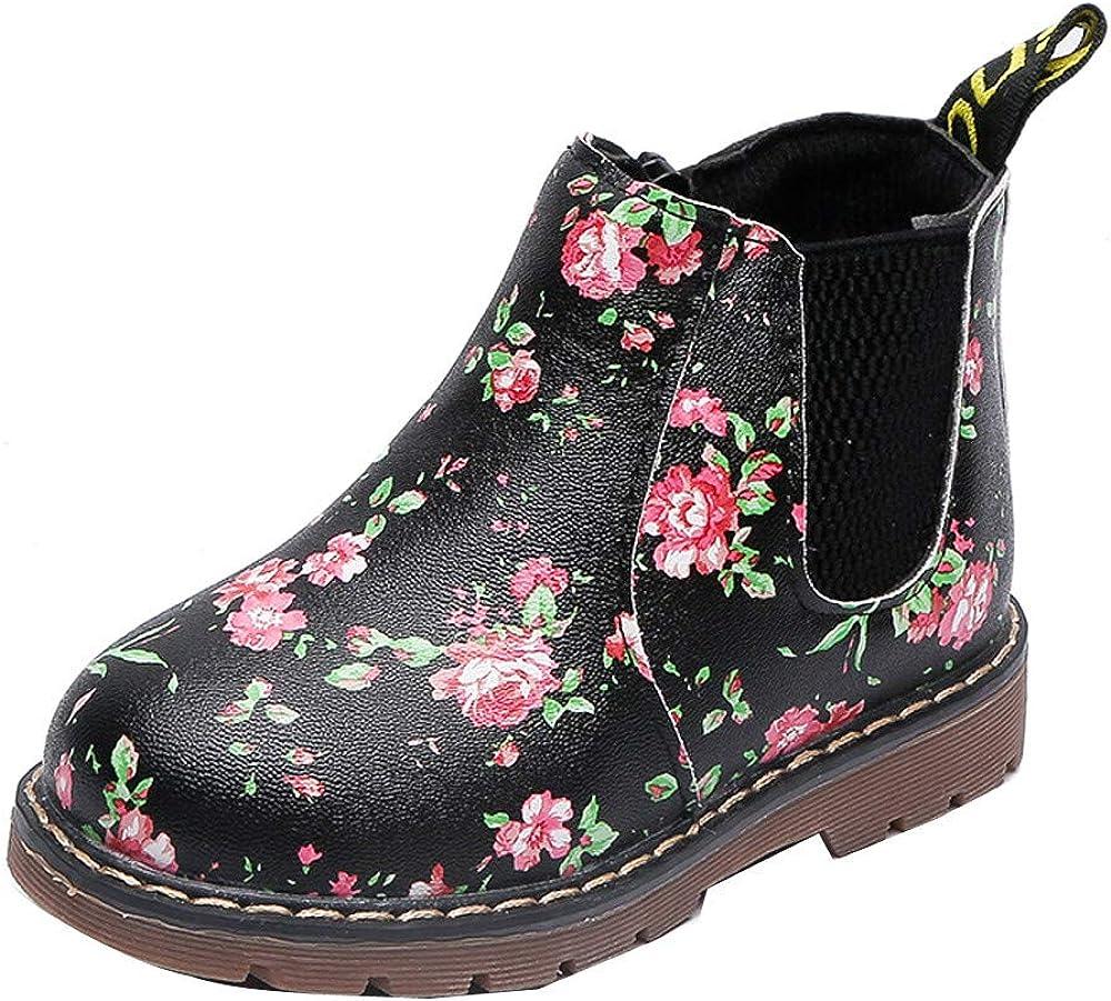 Botas Militares de Nieve Bajos para Niñas Niños Pelo Invierno PAOLIAN Zapatos Piel Bebés Niñas Primeros Pasos Calientes Calzado Floral Chicos Chicas Antideslizante Otoño Talla 21-36
