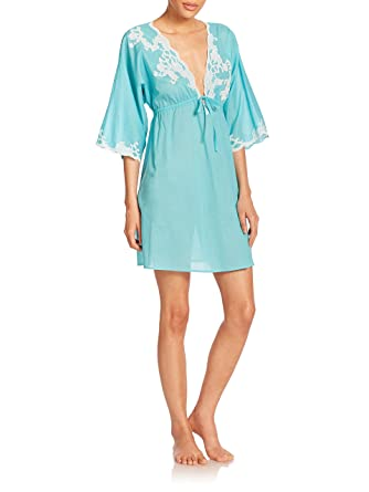 47c6f393e7a93c Natori Women's Paradise Cotton Voile and Lace Short Caftan, Blue at Amazon  Women's Clothing store: