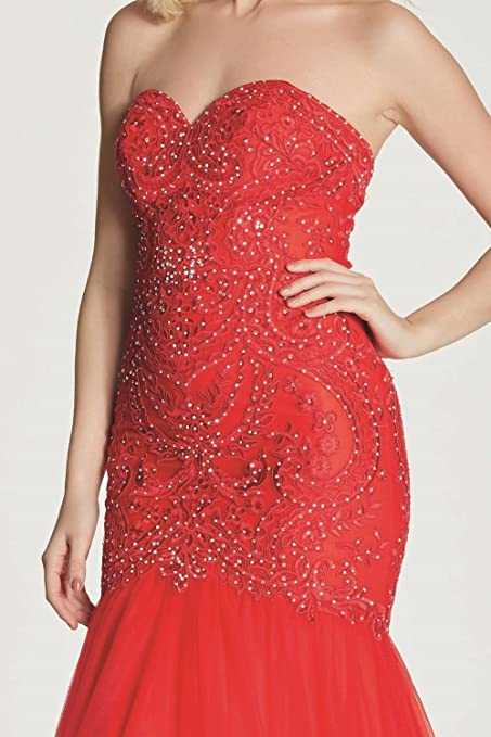 Tiffanys Illusion Prom Red Blondie Lace Net Fishtail Dress: Amazon.co.uk: Clothing