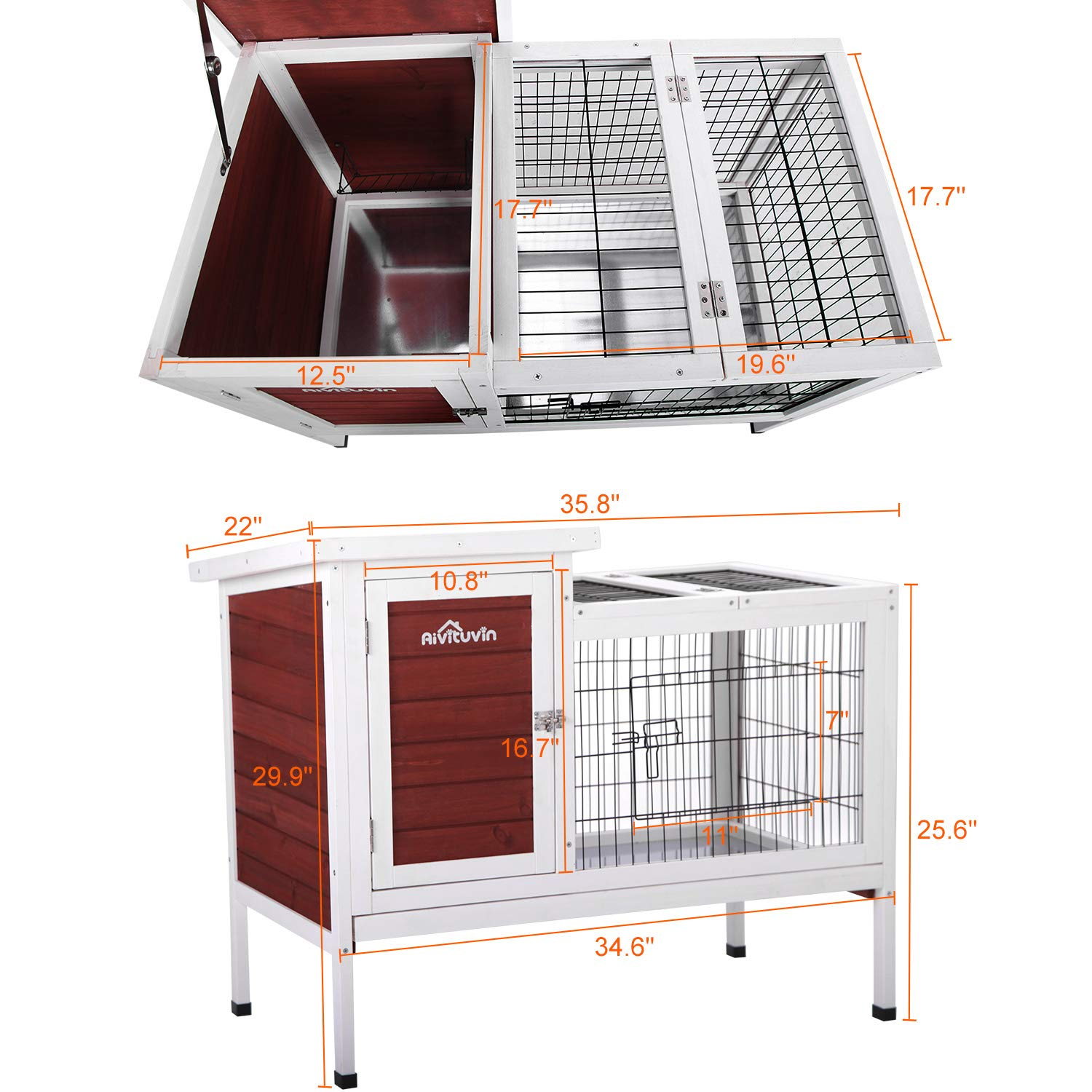 Aivituvin Rabbit Cage Rabbit Hutch Guinea Pig Cage For