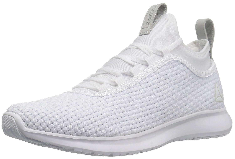 Reebok Women's Plus Runner Woven Sneaker B01NCSDF5F 11.5 B(M) US|White/Skull Grey/Matte Silver