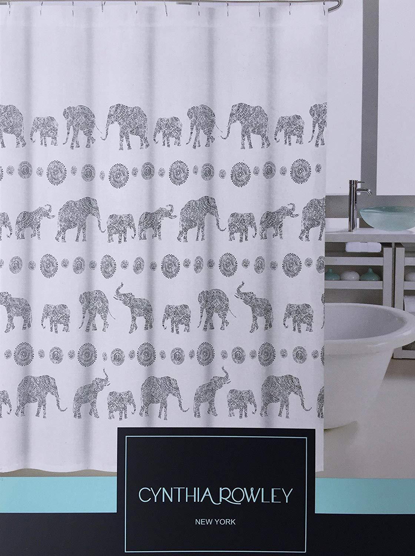 Cynthia Rowley Henna Elephants Gray on White Shower Curtain