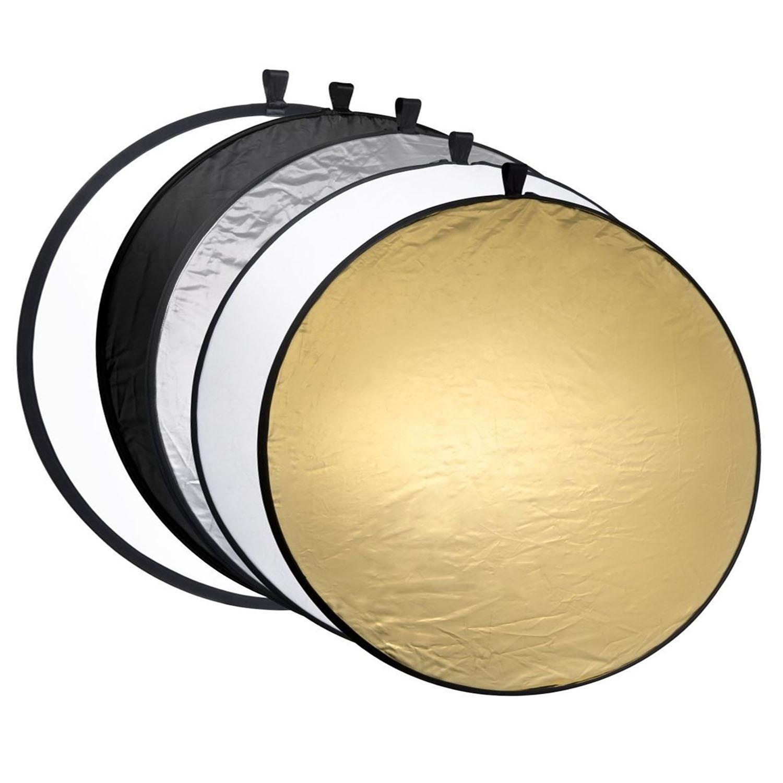 Vococal 5 en 1 port/átil Plegable Redonda 60cm iluminaci/ón Foto Disco Reflector difusor Kit de c/ámara con Carcasa fotograf/ía Equipo de Transporte