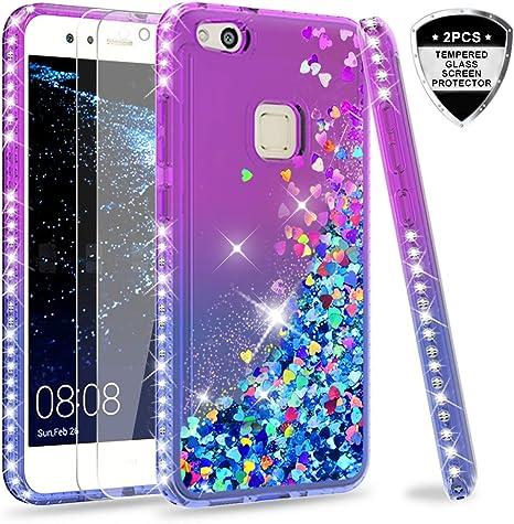 LeYi Funda Huawei P10 Lite Silicona Purpurina Carcasa con [2-Unidades Cristal Vidrio Templado],Transparente Cristal Bumper Telefono Gel Fundas Case Cover para Movil P10 Lite ZX Verde/Púrpura: Amazon.es: Electrónica