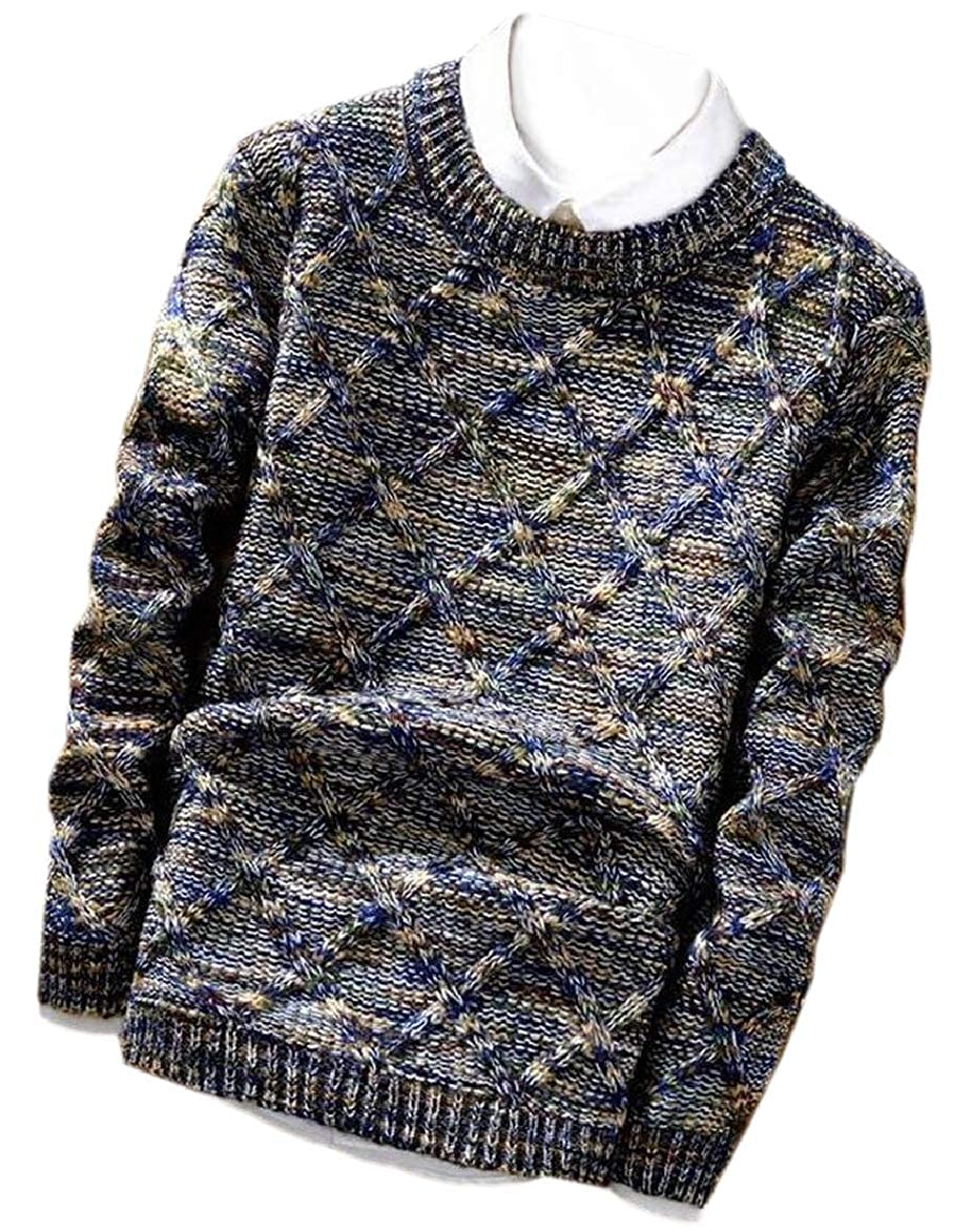 RRINSINS Mens Geometrical Printed Pullover Knit Slim Thickened Sweaters