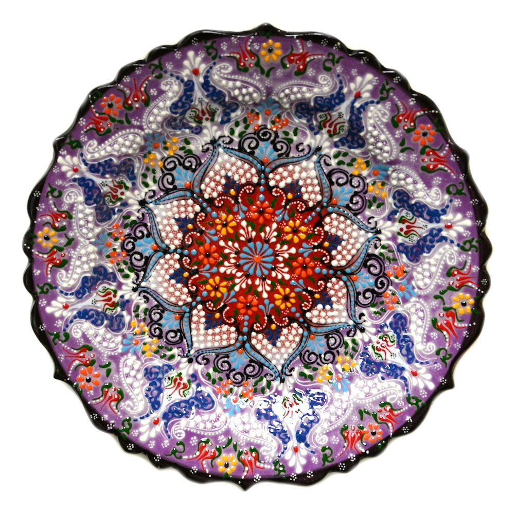 Turkish Ceramics~Hand Painted Ceramic Plate~Purple 12inch/30cm