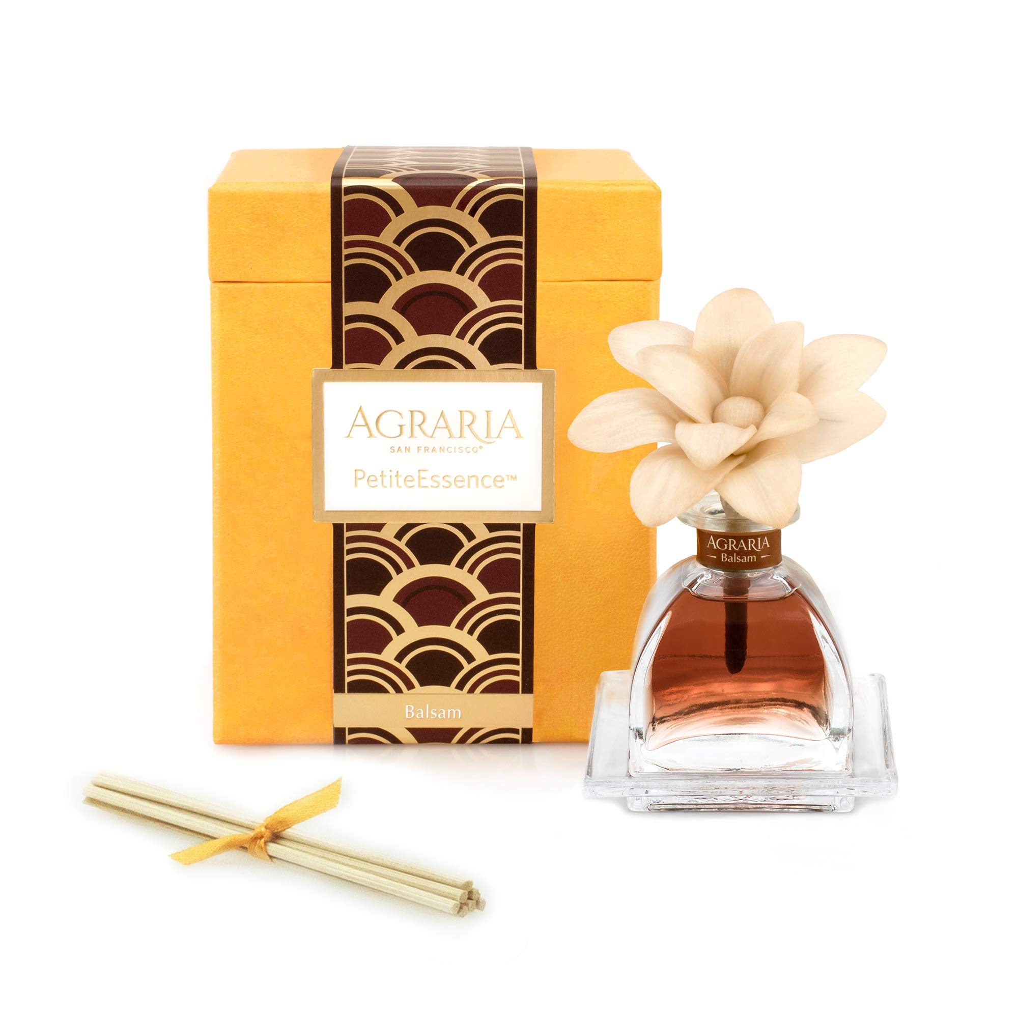 AGRARIA Balsam Scented PetiteEssence Diffuser, 1.7 Ounces with Reeds and a Flower by AGRARIA
