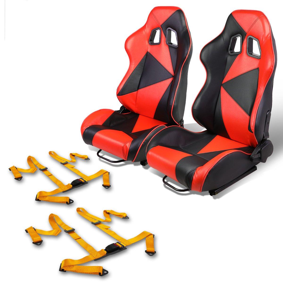 Par de rs-027-bk-rd PVC piel reclinable Racing asiento + oro 4PT ...