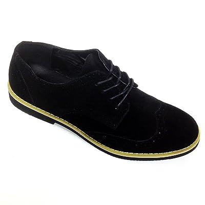 DT-02S Men's Dress Suede Wingtip Classic Brogue Lace Up Leather Lined Oxfords Casual Shoes (11 D(M) US, Black-1)   Oxfords